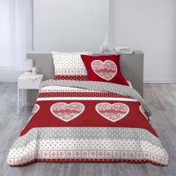 Housse de couette 260x240 cm + 2 taies d'oreiller 100% coton 57 fils allover passionnement