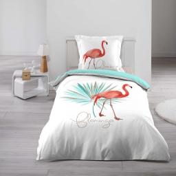 Housse de couette enfant 140x200 cm + 1 taie coton imprimé  flamingo folie