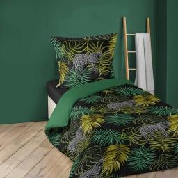 Housse de couette enfant 140x200 cm + 1 taie coton imprimé  tropical green