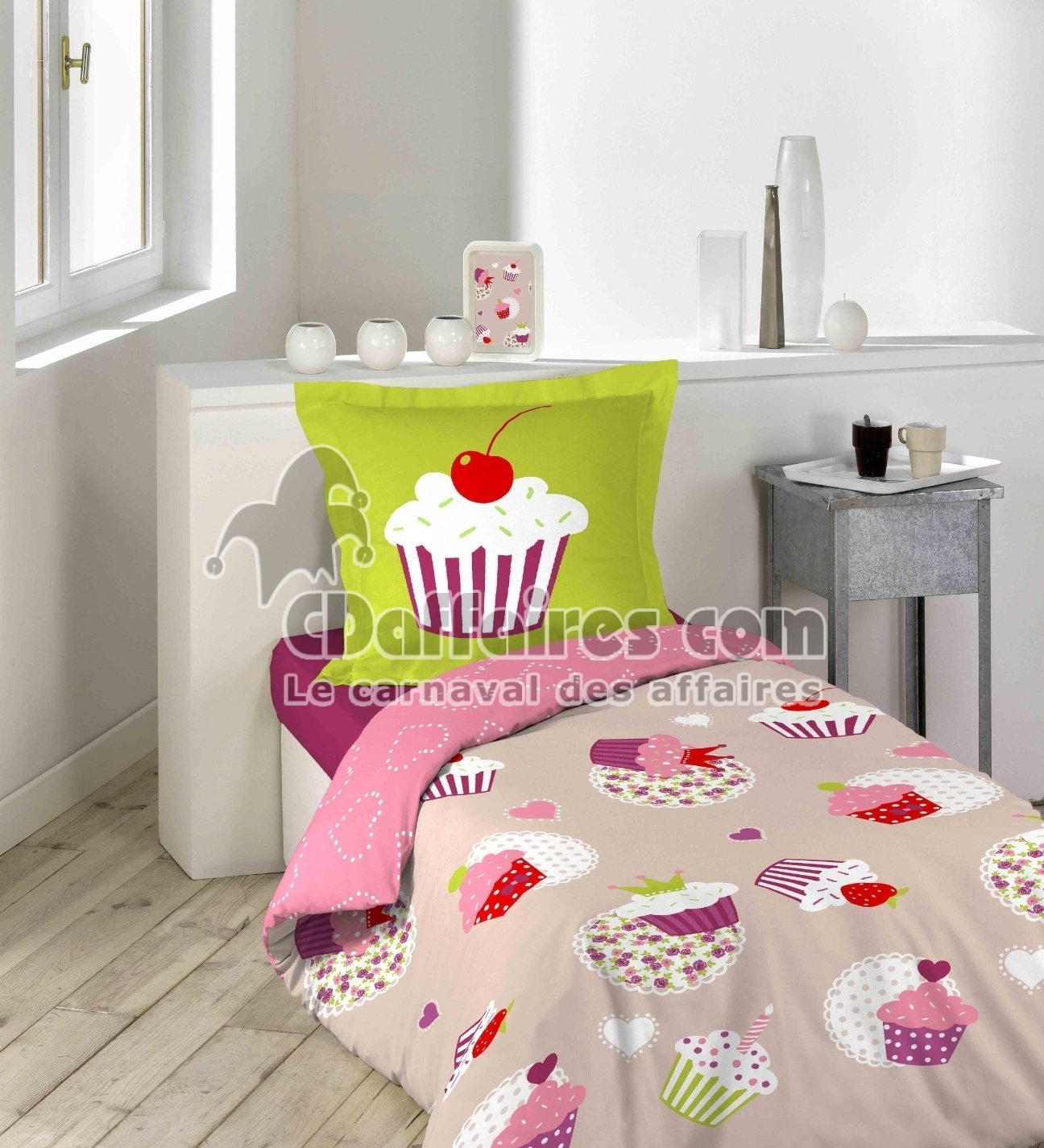 housse de couette enfant 140x200 cm 100 coton cupcakes ebay. Black Bedroom Furniture Sets. Home Design Ideas