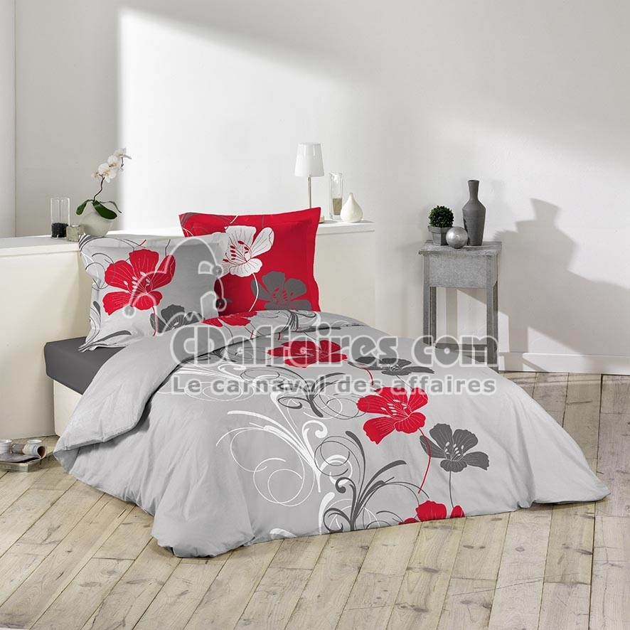 housse de couette flanelle 220x240 cm frise florale ebay. Black Bedroom Furniture Sets. Home Design Ideas