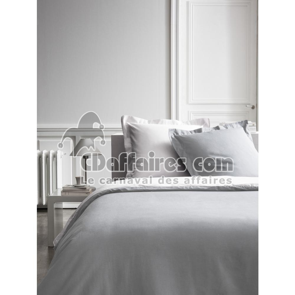 housse de couette percale bicolore blanc gris clair 220x240 cm ebay. Black Bedroom Furniture Sets. Home Design Ideas
