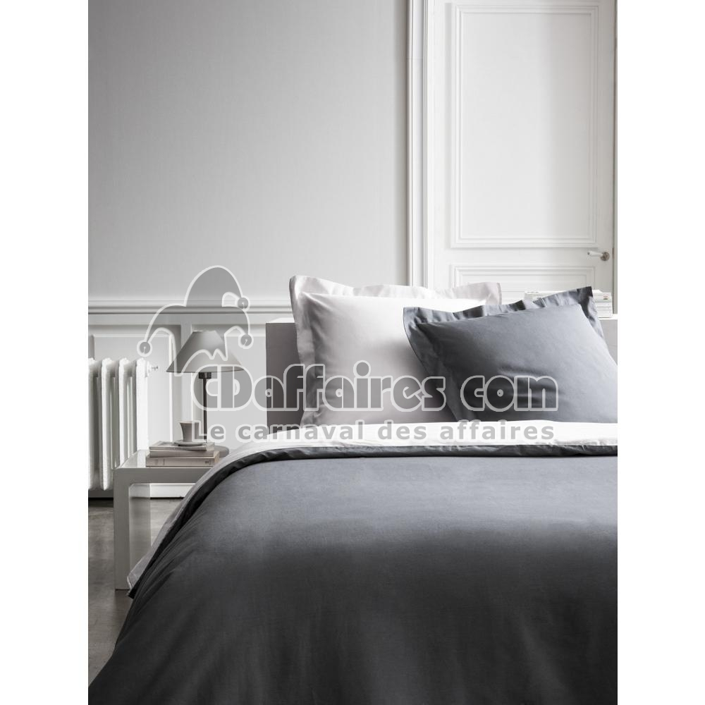 housse de couette percale bicolore gris anthracite gris clair 220x240 cm ebay. Black Bedroom Furniture Sets. Home Design Ideas
