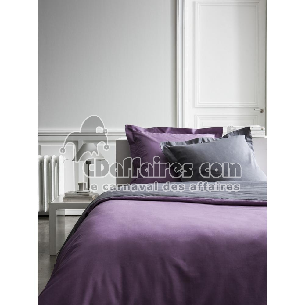 housse de couette percale bicolore violet gris 240x260 cm. Black Bedroom Furniture Sets. Home Design Ideas