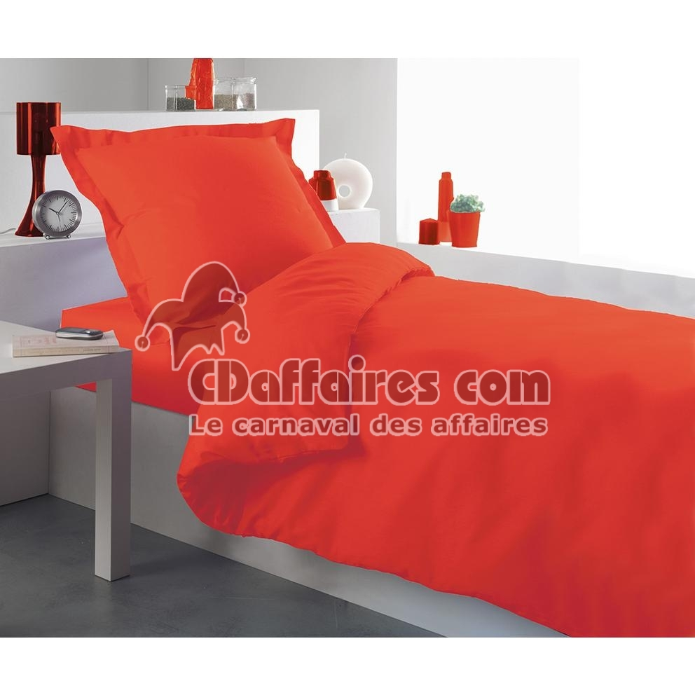 housse de couette unie 140x200 cm corail ebay. Black Bedroom Furniture Sets. Home Design Ideas