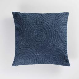 Housse de coussin 40 x 40 cm jersey relief solaris Bleu