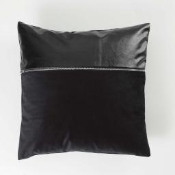 Housse de coussin 40 x 40 cm velours uni aston Noir