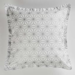 Housse de coussin +encart 40 x 40 cm coton imprime mindy Blanc/Argent