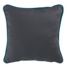 Housse de coussin +encart 40 x 40 cm coton uni panama Ardoise/Bleu