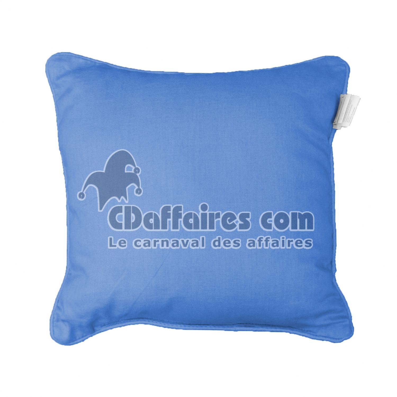 Housse de coussin encart 40 x 40 cm coton uni panama azur for Grande housse de coussin