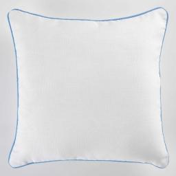Housse de coussin +encart 40 x 40 cm coton uni panama Blanc/Azur