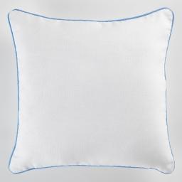 Housse de coussin +encart 40 x 40 cm coton uni panama Blanc/Bleu