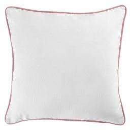 Housse de coussin +encart 40 x 40 cm coton uni panama Blanc/Dragee
