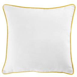 Housse de coussin +encart 40 x 40 cm coton uni panama Blanc/Miel
