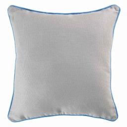 Housse de coussin +encart 40 x 40 cm coton uni panama Gris/Azur