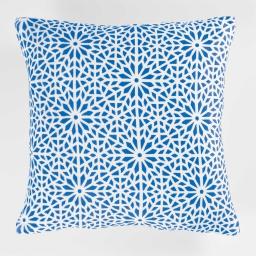Housse de coussin +encart 40 x 40 cm flanelle imprimee tunis Indigo