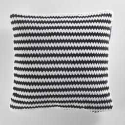 Housse de coussin +encart 40 x 40 cm flanelle jacquard/sherpa sydney Noir