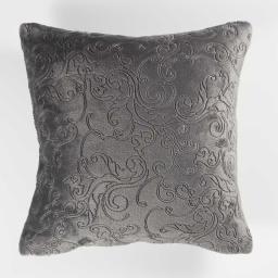 Housse de coussin +encart 40 x 40 cm flanelle relief baroco Anthracite