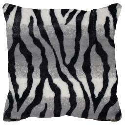 housse de coussin +encart 40 x 40 cm imitation fourrure congo zebre