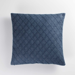 Housse de coussin +encart 40 x 40 cm jersey relief maora Bleu