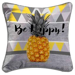 housse de coussin +encart 40 x 40 cm polyester imprime ananas