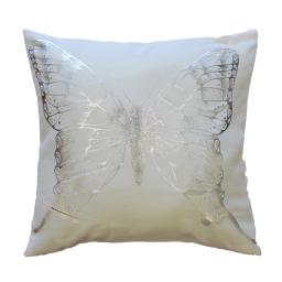 Housse de coussin +encart 40 x 40 cm polyester imprime argent envola Blanc