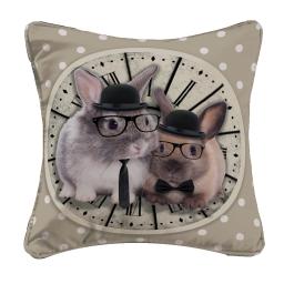 housse de coussin +encart 40 x 40 cm polyester imprime bunny clock