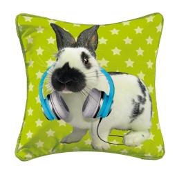 housse de coussin +encart 40 x 40 cm polyester imprime bunny fun