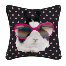 Housse de coussin +encart 40 x 40 cm polyester imprime bunny star Rose