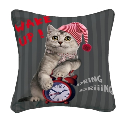 housse de coussin +encart 40 x 40 cm polyester imprime cat wake up