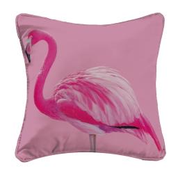 Housse de coussin +encart 40 x 40 cm polyester imprime flamingo Rose