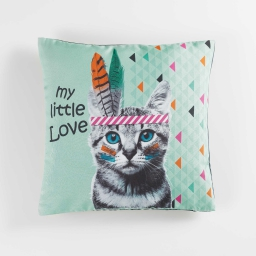 housse de coussin +encart 40 x 40 cm polyester imprime indian cat