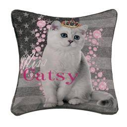 housse de coussin +encart 40 x 40 cm polyester imprime miss catsy
