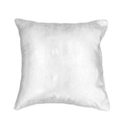 Housse de coussin +encart 40 x 40 cm shantung imprime argent steel Blanc