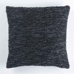 Housse de coussin +encart 40 x 40 cm tricot tweedy Noir