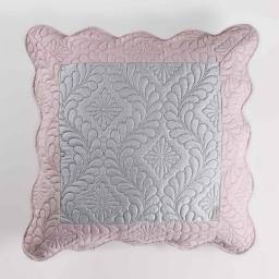 Housse de coussin +encart 45 x 45 cm microfibre bicolore andrea Gris/Rose