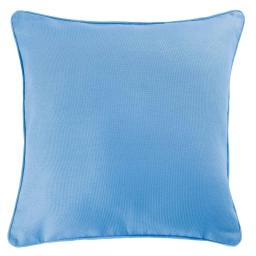 Housse de coussin +encart 60 x 60 cm coton uni panama Azur