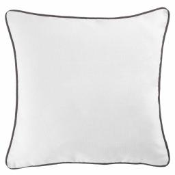 Housse de coussin +encart 60 x 60 cm coton uni panama Blanc/Ardoise