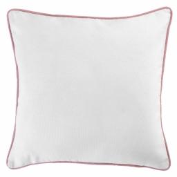Housse de coussin +encart 60 x 60 cm coton uni panama Blanc/Dragee