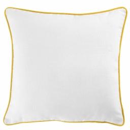 Housse de coussin +encart 60 x 60 cm coton uni panama Blanc/Miel