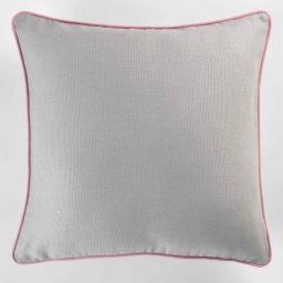 Housse de coussin +encart 60 x 60 cm coton uni panama Gris/Dragee