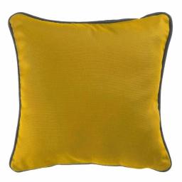 Housse de coussin +encart 60 x 60 cm coton uni panama Miel/Ardoise
