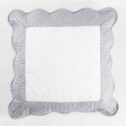 Housse de coussin +encart 60 x 60 cm microfibre bicolore andrea Blanc/Gris