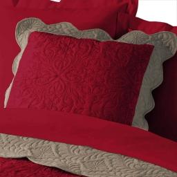 Housse de coussin +encart 60 x 60 cm microfibre bicolore emma Rouge/Taupe