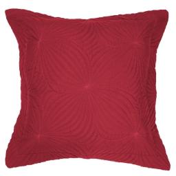 Housse de coussin +encart 60 x 60 cm microfibre unie florencia Rouge