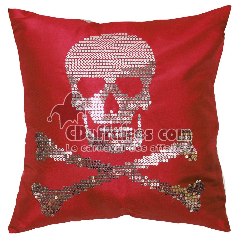 Coussin t te de lit taffetas pictures to pin on pinterest for Housse de coussin rouge
