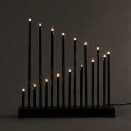 ip20/4,5v-candelabre 16led-base noire+led blanc chaud-28xh24cm