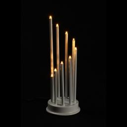 ip20/4,5v-candelabre 9led-base blanche+led blanc chaud-14xh30cm