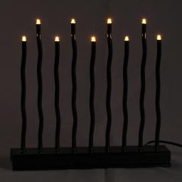 ip20/4,5v-candelabre 9led-base noire+led blanc chaud-28xh30cm