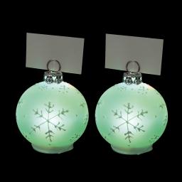 ip20/4,5v-set de 2 boules porte nom lumineux en verre-avec dessin flocon-ø5cm